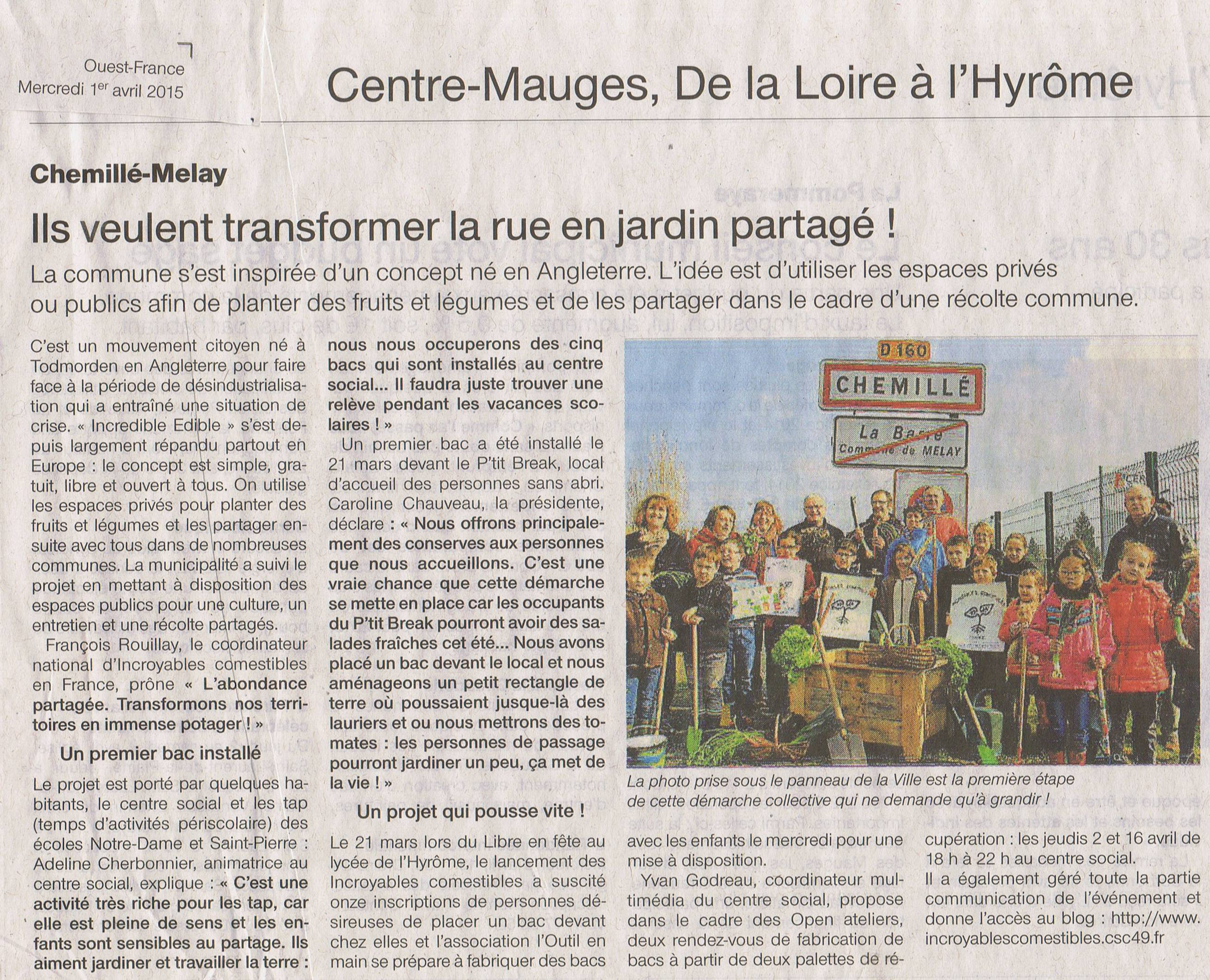 Article Ouest France du 1er Avril 2015