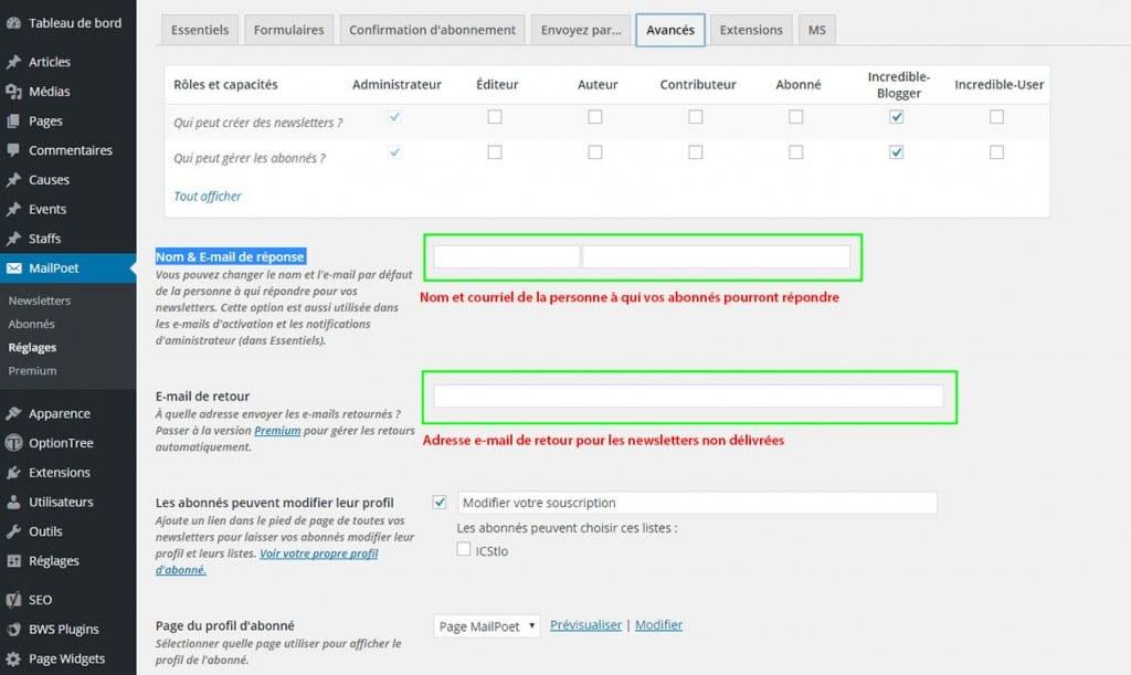Réglages Avancés Extension MailPoet