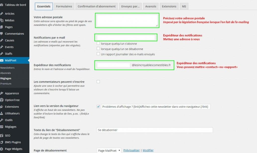 Réglages Extension MailPoet